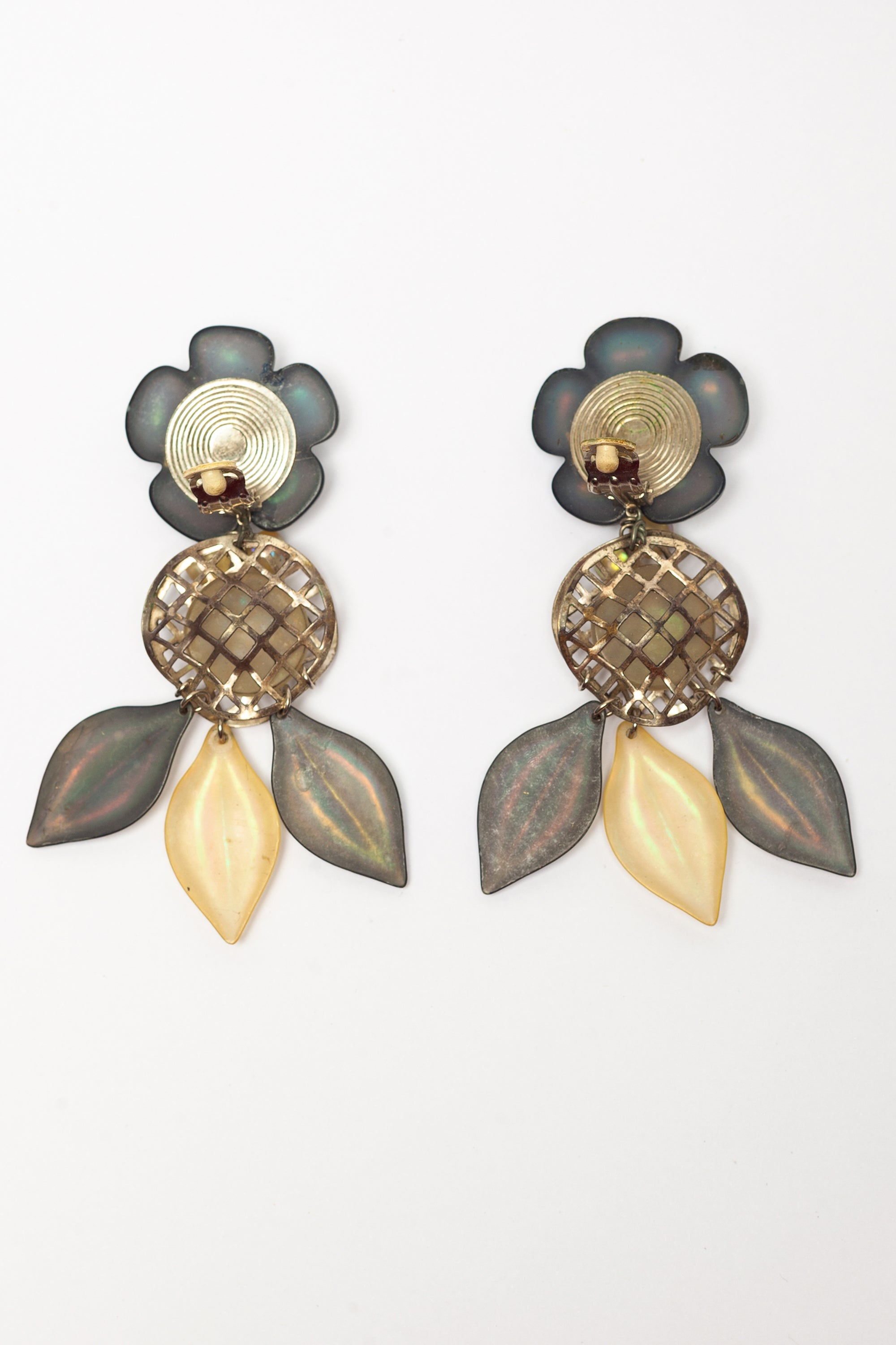 Vintage <br> 1980's iridescent flower shoulder duster earrings