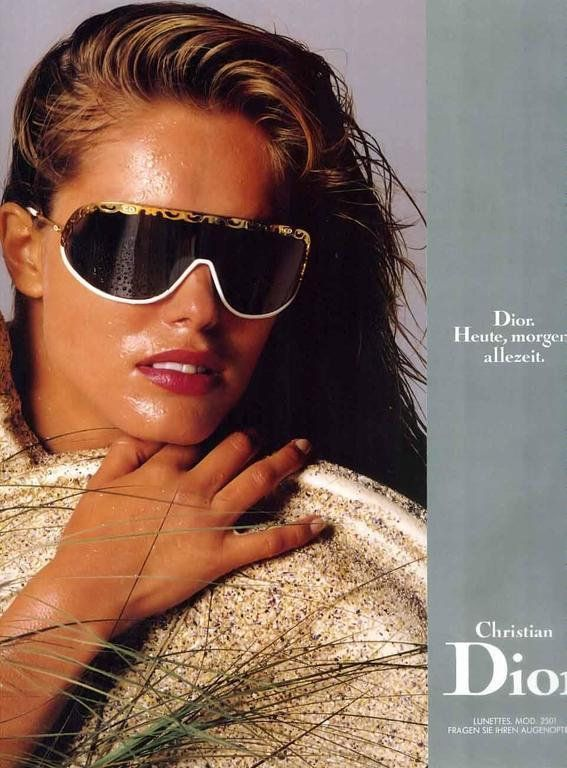 Christian Dior <br> 80's white visor sunglasses