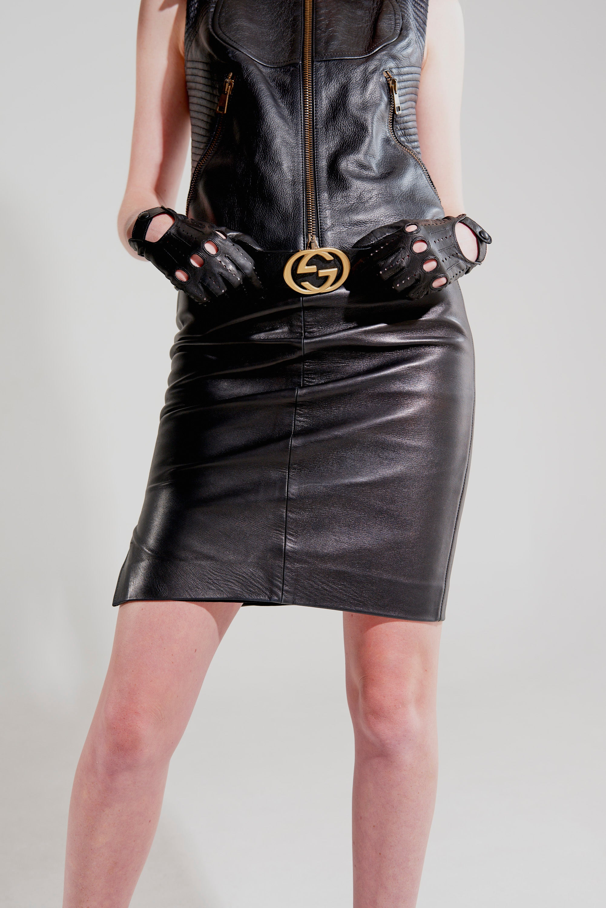 Gucci <br> 90's Tom Ford leather pencil skirt