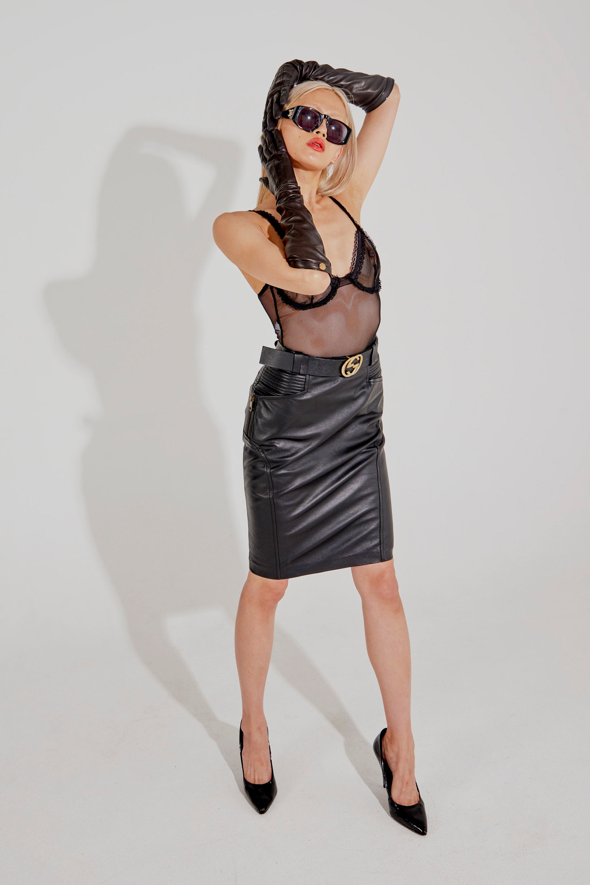 Gucci <br> 2003 Tom Ford leather biker skirt with detachable GG logo belt