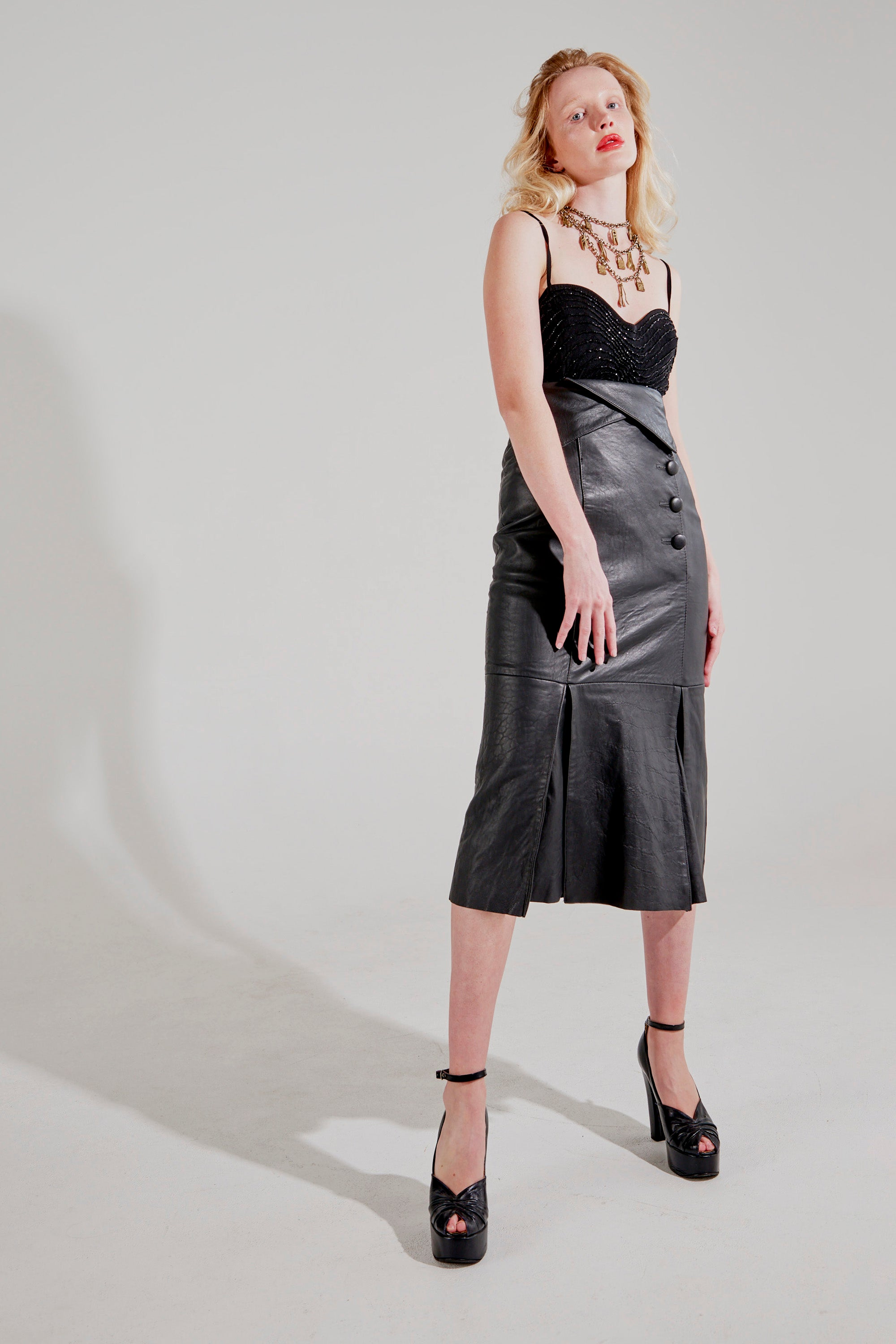 Vintage <br> 70's/80's super high waisted pleated leather maxi skirt