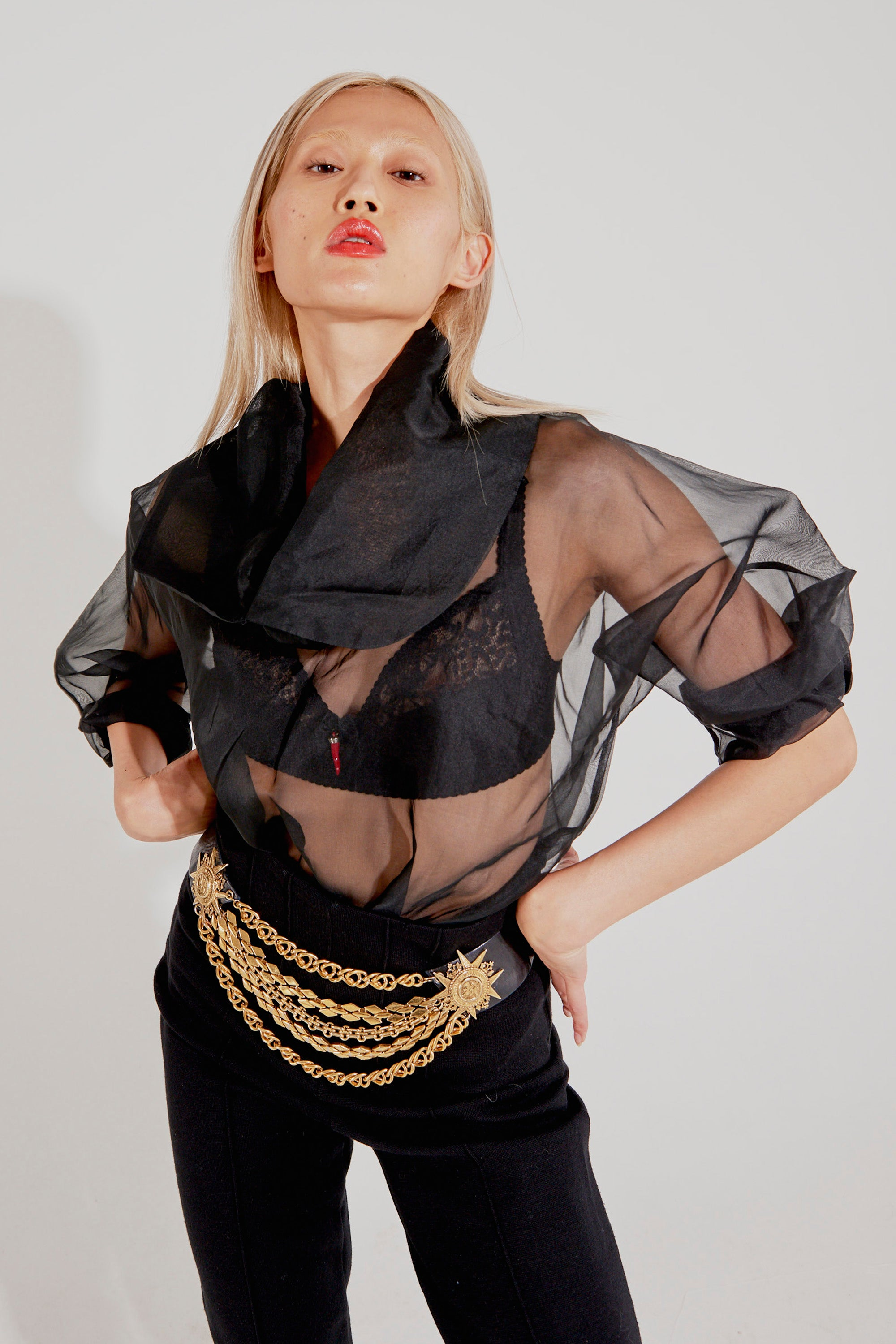 Linda Jackson <br> 80's sheer silk top with oversized collar
