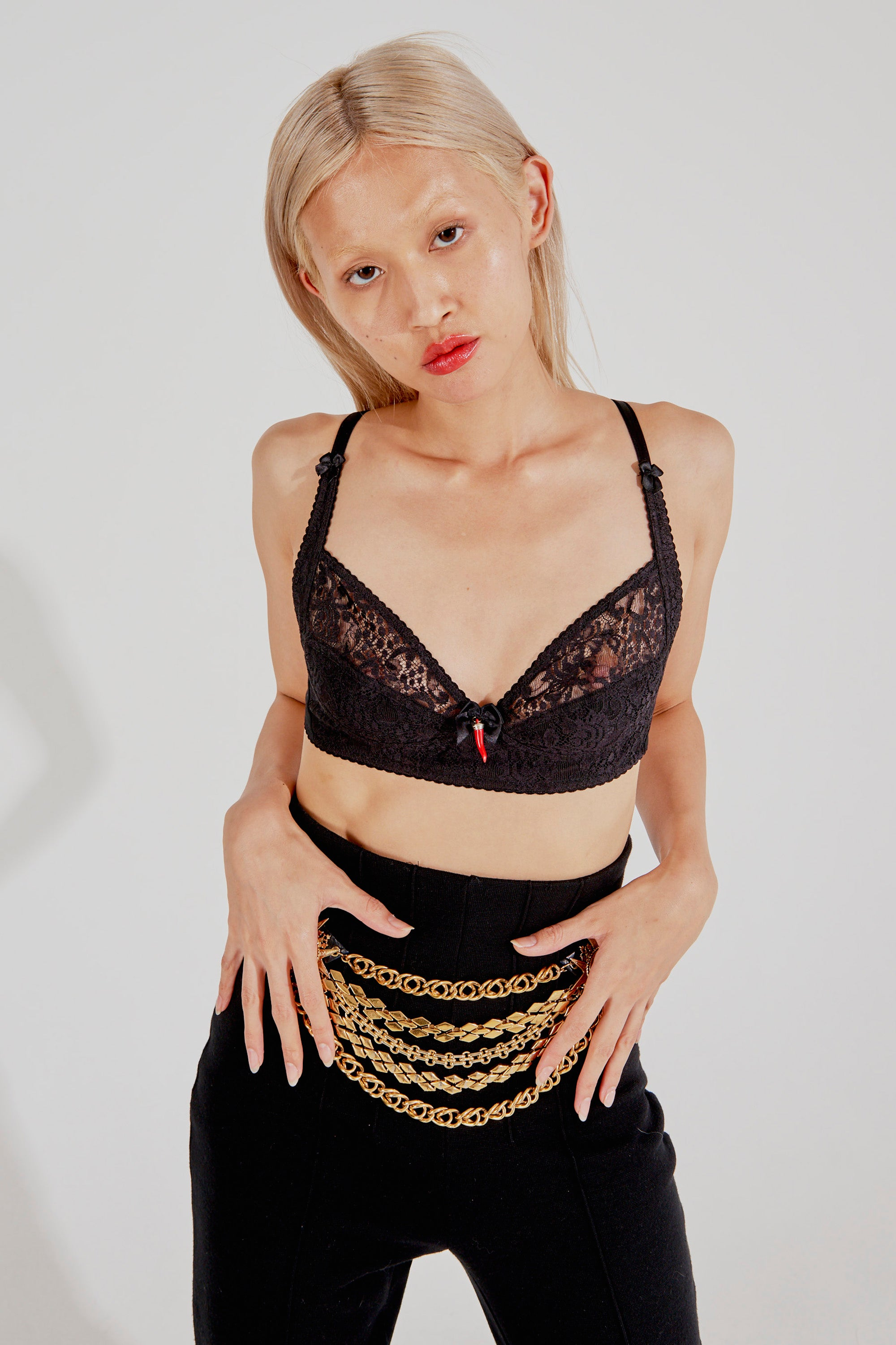 Dolce & Gabbana <br> 90's D&G black lace chilli pepper bra