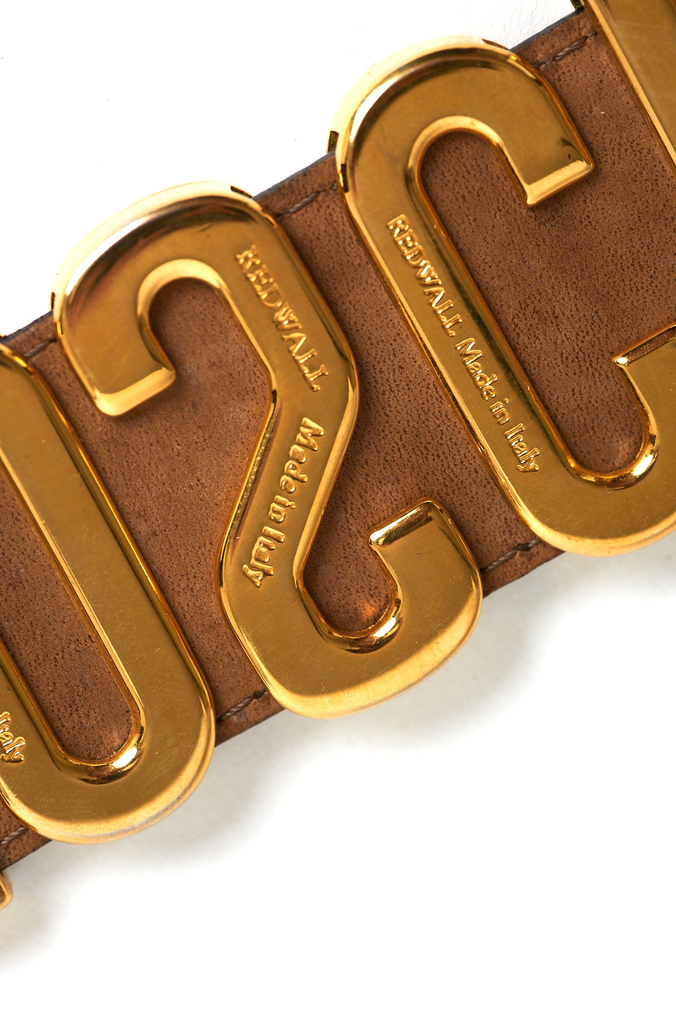 Moschino <br> 90's Moschino by Redwall logo letter brown leather belt