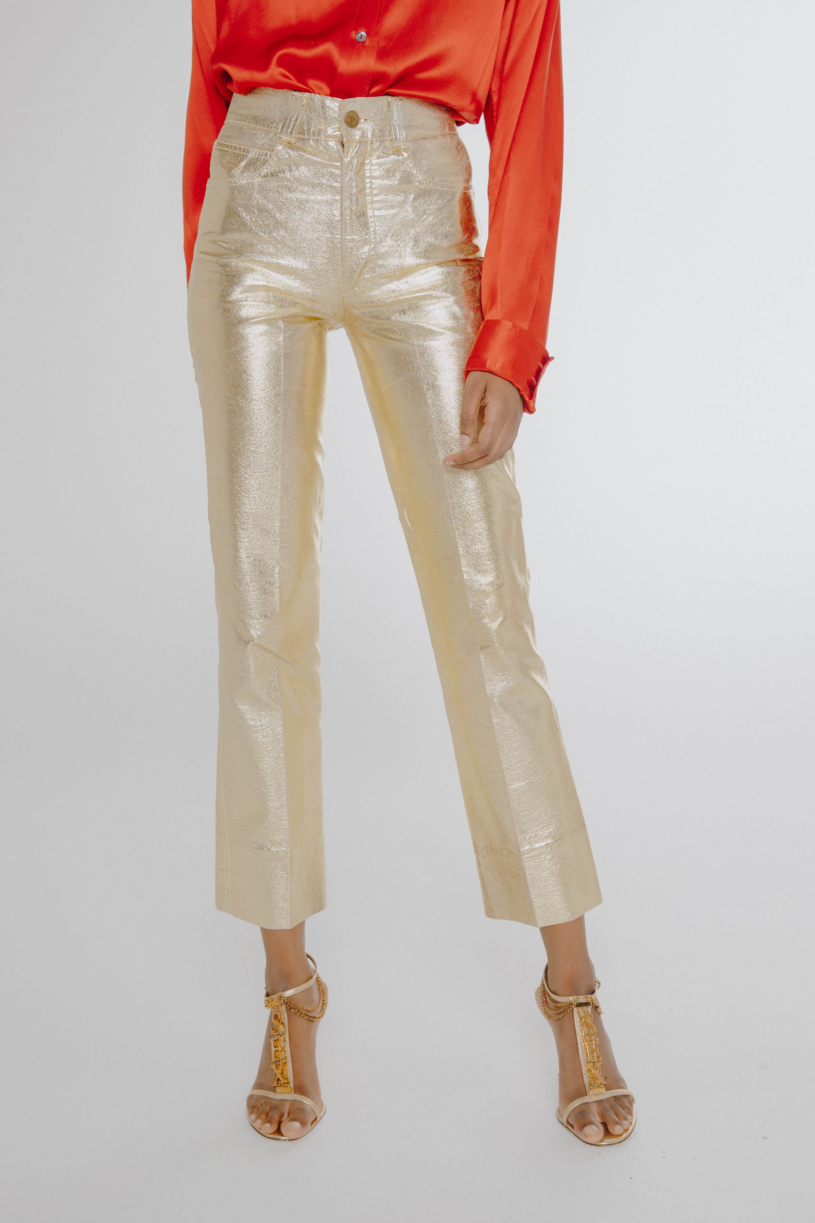 Fiorucci <br> 70's Safety Jeans gold disco pants