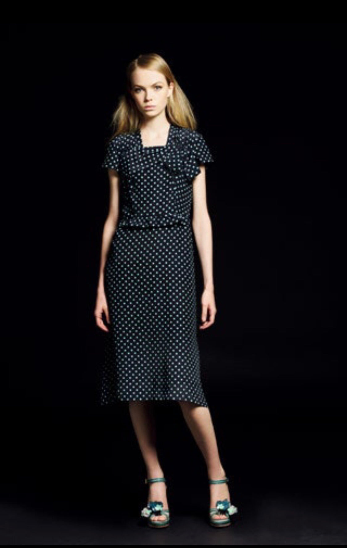 Prada <br> Resort 2008 draped polka dot dress