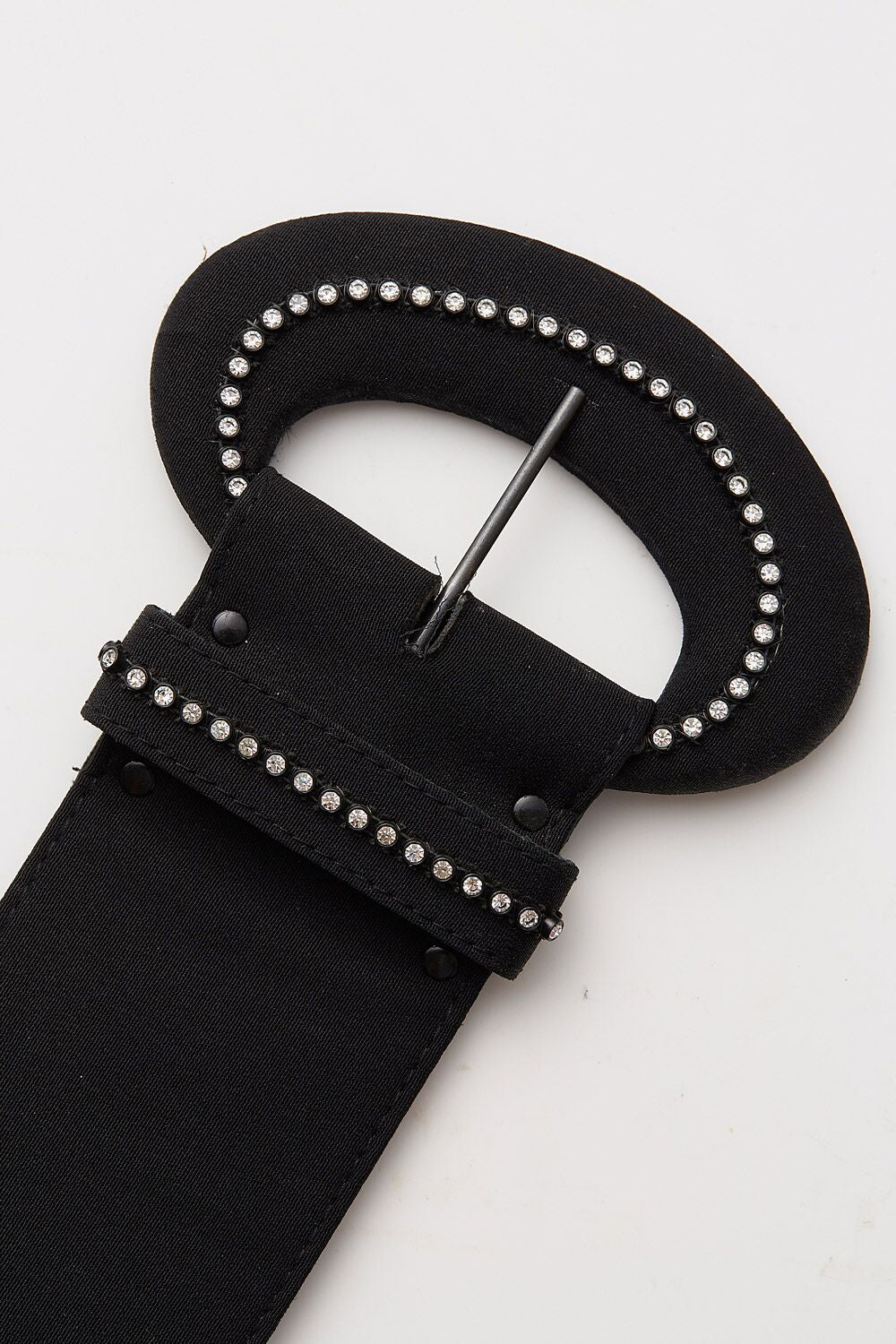 Vintage<br>1980's extra wide black belt with diamante studded buckle