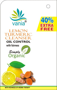 Vania Lemon Turmeric Cleanser is enriched with the goodness of Lemon, Turmeric & Aloe Vera extracts which helps to regulate natural oil balance in skin, Enriched with Lemon and Turmeric control acne and pimples, Lemon exfoliates acne, refreshes & soothes the skin, helps in skin toning, Turmeric is known for its antiseptic properties and takes care of inflamed skin due to acne and pimples, combating the problem of scars and blemishes making skin flawless in the most organic and natural way.