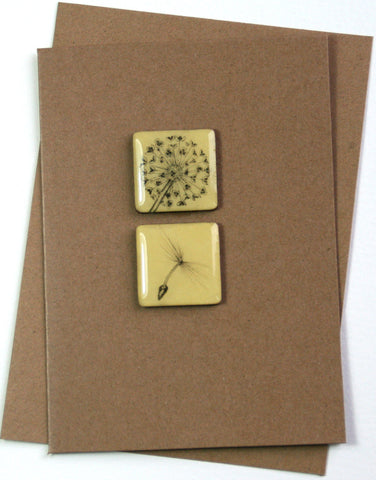 Art Card - Two Tiles, Allium, Dandelion Seed