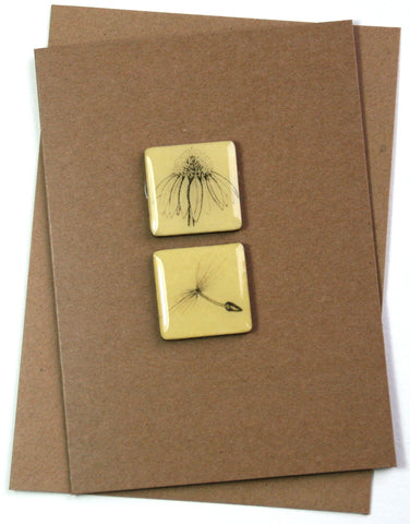 Art Card - Two Tiles, Echinacea, Dandelion Seed