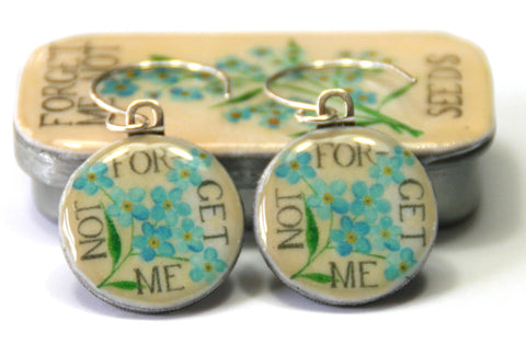 Seed Envelope Sixpence Earrings and Teeny Tiny Tin Forget Me Not