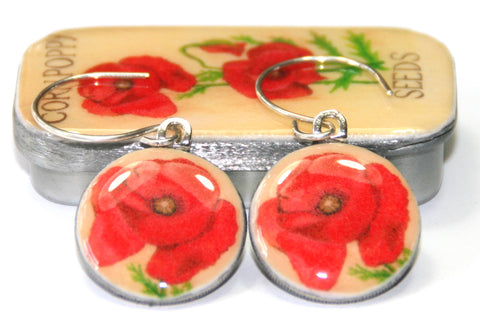Seed Envelope Sixpence Earrings and Teeny Tiny Tin Poppy