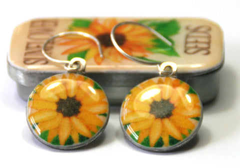 Seed Envelope Sixpence Earrings and Teeny Tiny Tin Sunflower