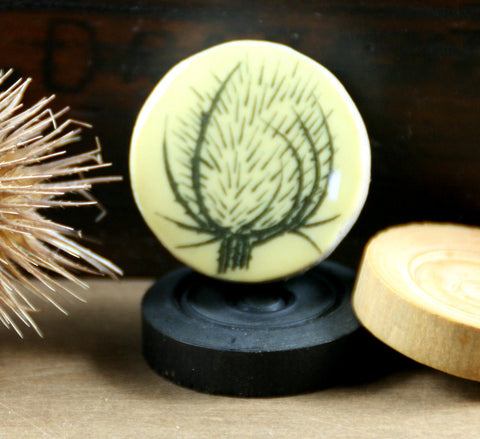 Cottage Garden Draughts Piece Brooch -  Teasel