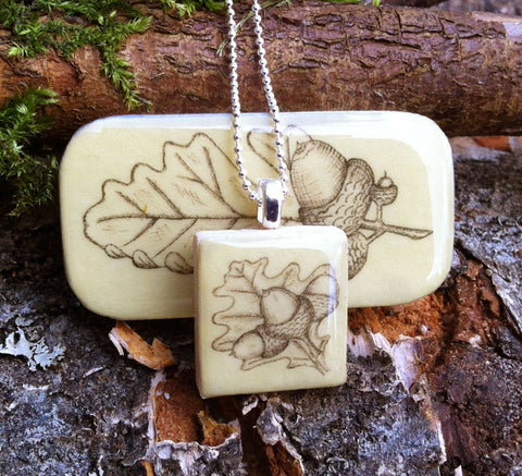 Cottage Garden Scrabble Tile Pendant and Teeny Tiny Tin - Acorn