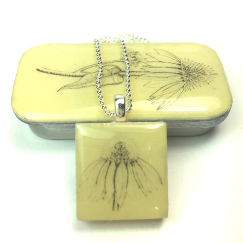 Cottage Garden Scrabble Tile Pendant and Teeny Tiny Tin - Echinacea