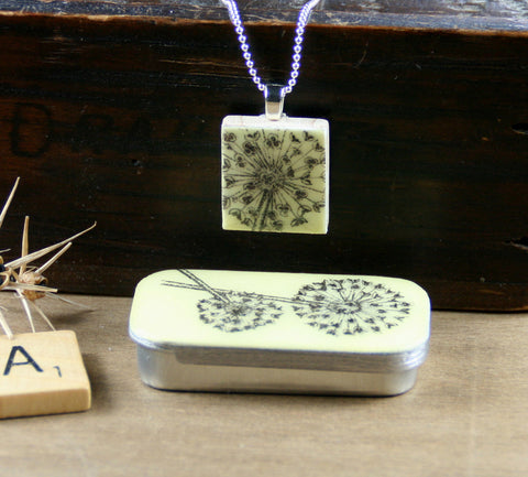 Cottage Garden Scrabble Tile Pendant and Teeny Tiny Tin - Allium