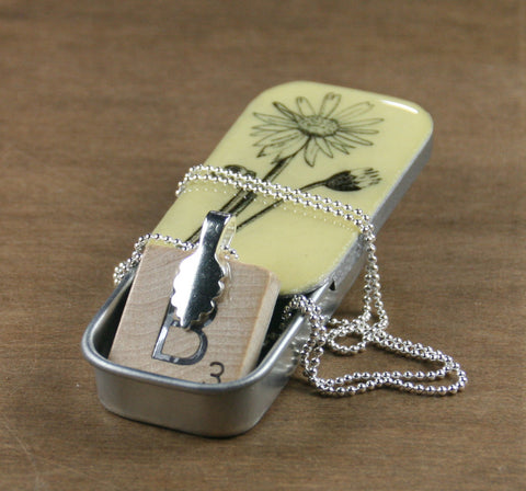 Cottage Garden Scrabble Tile Pendant and Teeny Tiny Tin - Daisy