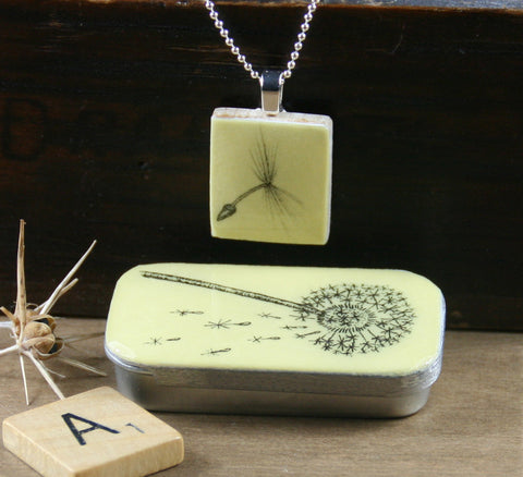 Cottage Garden Scrabble Tile Pendant and Teeny Tiny Tin - Dandelion