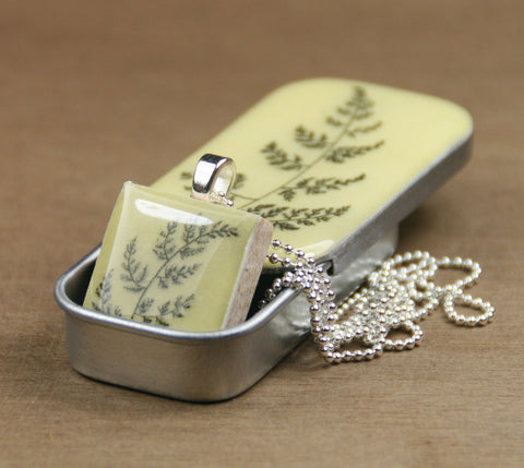 Cottage Garden Scrabble Tile Pendant and Teeny Tiny Tin - Fern