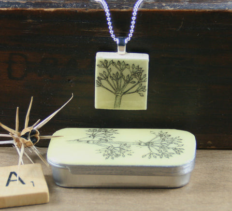 Cottage Garden Scrabble Tile Pendant and Teeny Tiny Tin - Parsley