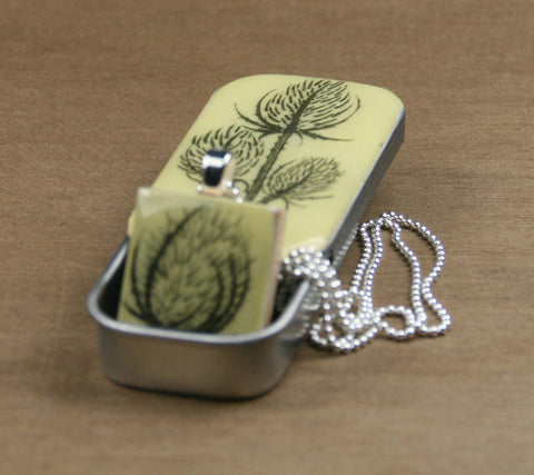 Cottage Garden Scrabble Tile Pendant and Teeny Tiny Tin - Teasel