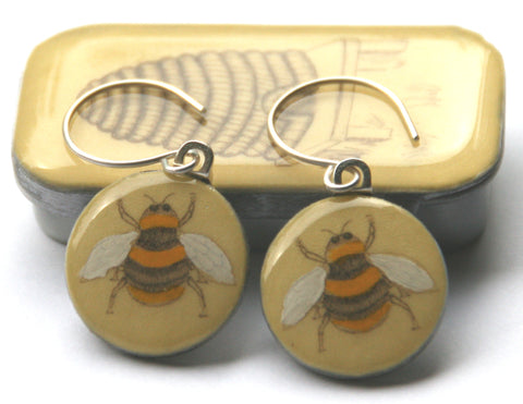 Cottage Garden Sixpence Earrings and Teeny Tiny Tin - Bee