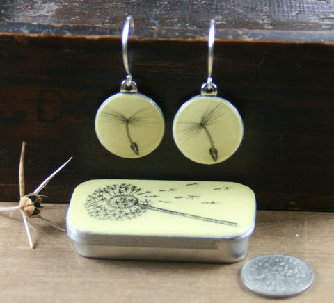 Cottage Garden Sixpence Earrings and Teeny Tiny Tin - Dandelion
