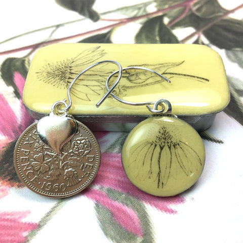 Cottage Garden Sixpence Earrings and Teeny Tiny Tin - Echinacea