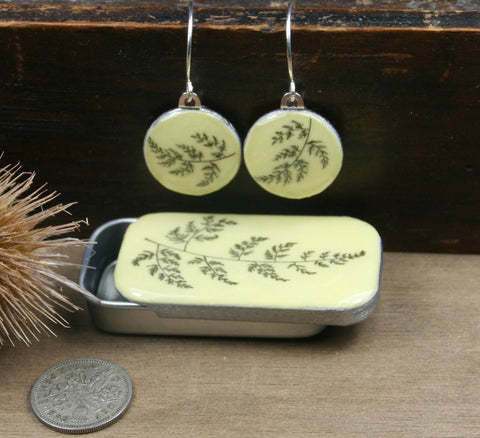 Cottage Garden Sixpence Earrings and Teeny Tiny Tin - Fern