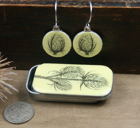 Cottage Garden Sixpence Earrings and Teeny Tiny Tin - Teasel