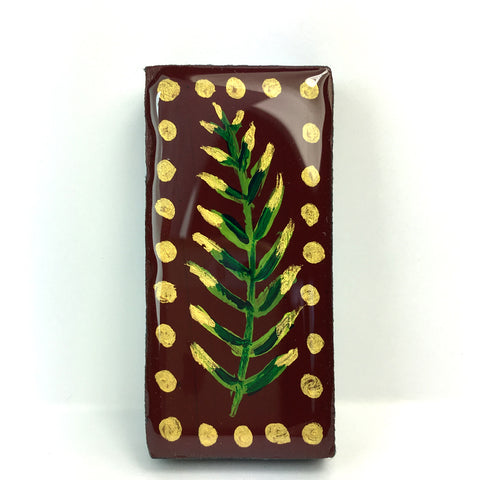 Woodlands Domino Brooch - Burgundy