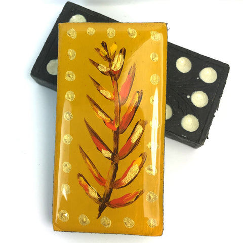 Painted Leaves Domino Brooch Mustard