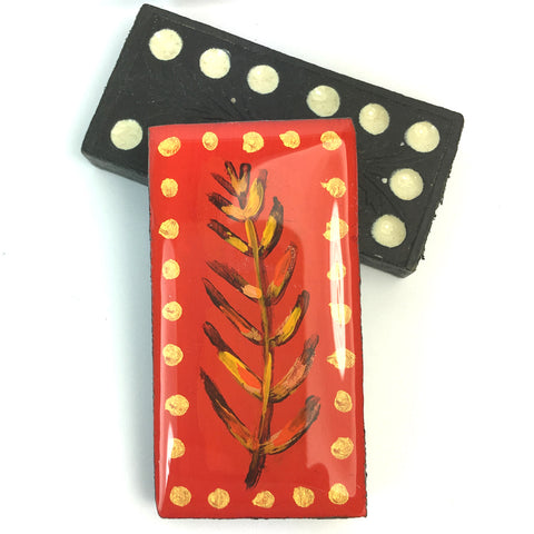 Painted Leaves Domino Brooch - Red