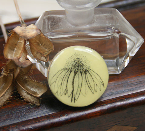 Cottage Garden Draughts Piece Brooch -  Echinacea