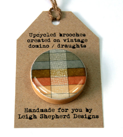 Draughts Piece Brooch - Geo Sepia