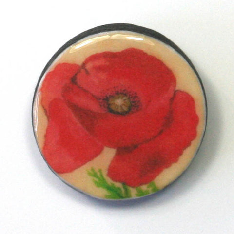 Seed Envelope Draughts Piece Brooch - Poppy
