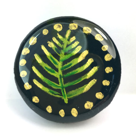 Woodlands Draughts Piece Brooch Forest