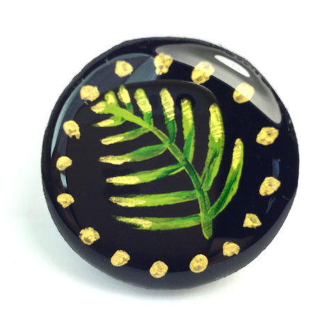Painted Leaves Draughts Piece Brooch - Midnight