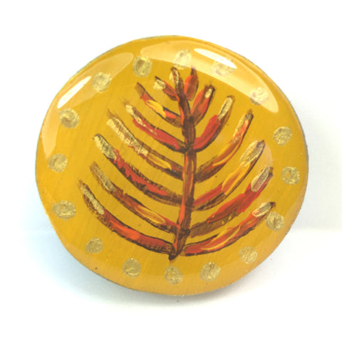 Painted Leaves Draughts Piece Brooch - Mustard