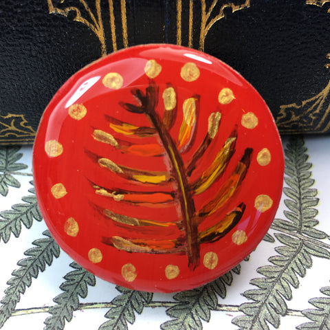 Woodlands Draughts Piece Brooch - Red