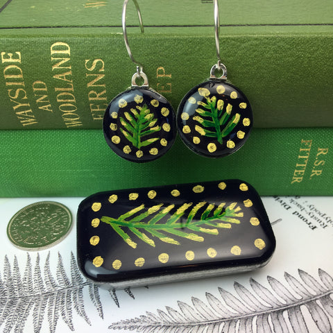 Woodlands Sixpence Earrings and Teeny Tiny Tin - Midnight