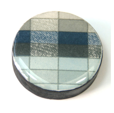 Draughts Piece Brooch - Geo Slate