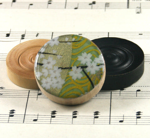 Draughts Piece Brooch - Golden Green