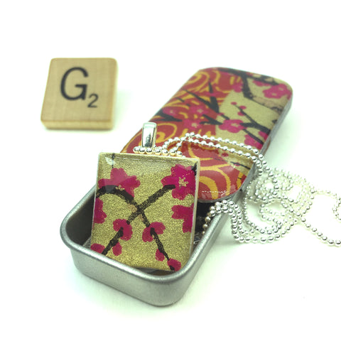 A Scrabble Tile Pendant and Teeny Tiny Tin Golden Blossom Pink