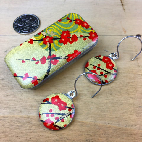Sixpence Earrings and Teeny Tiny Tin Golden Blossom Red