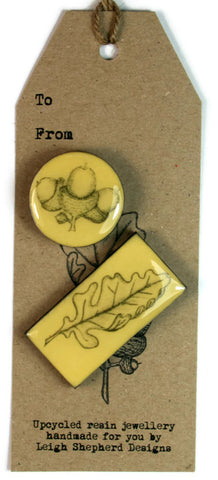 Cottage Garden Brooch Set- Acorn and Oak Leaf