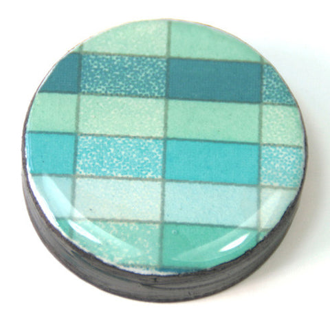 Draughts Piece Brooch - Geo Ocean