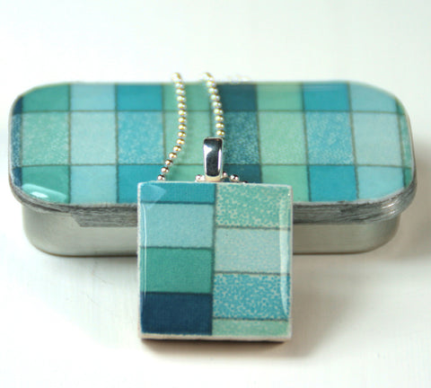 A Scrabble Tile Pendant and Teeny Tiny Tin Geo Ocean