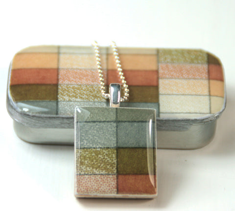 A Scrabble Tile Pendant and Teeny Tiny Tin Geo Sepia